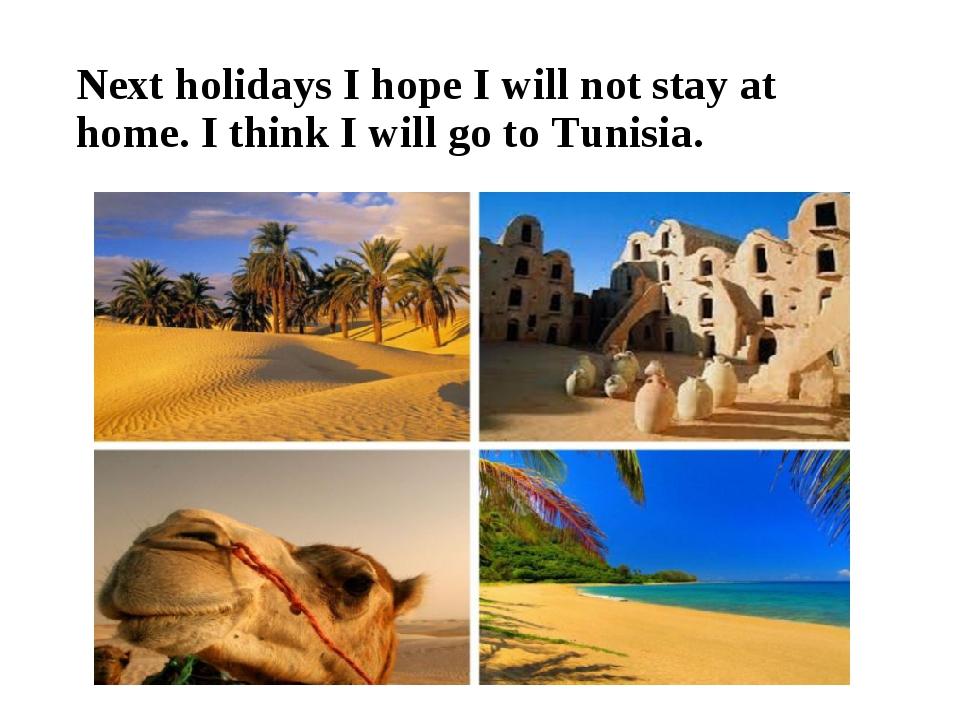 Next holidays I hope I will not stay at home. I think I will go to Tunisia.