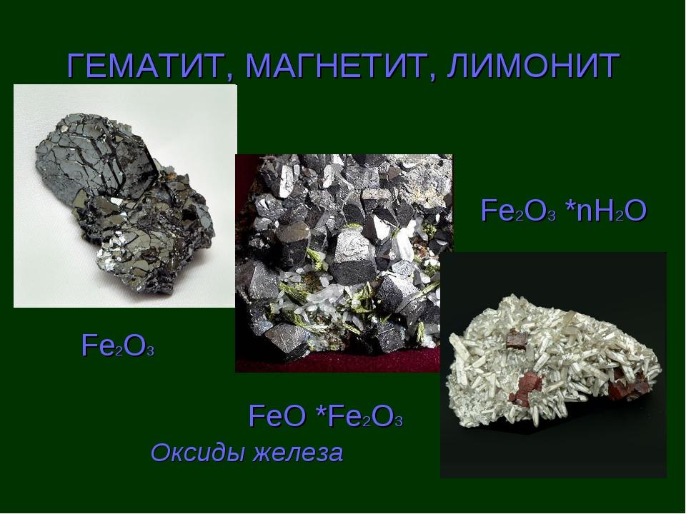 ГЕМАТИТ, МАГНЕТИТ, ЛИМОНИТ Fe2O3 FeO *Fe2О3 Fe2O3 *nH2O Оксиды железа