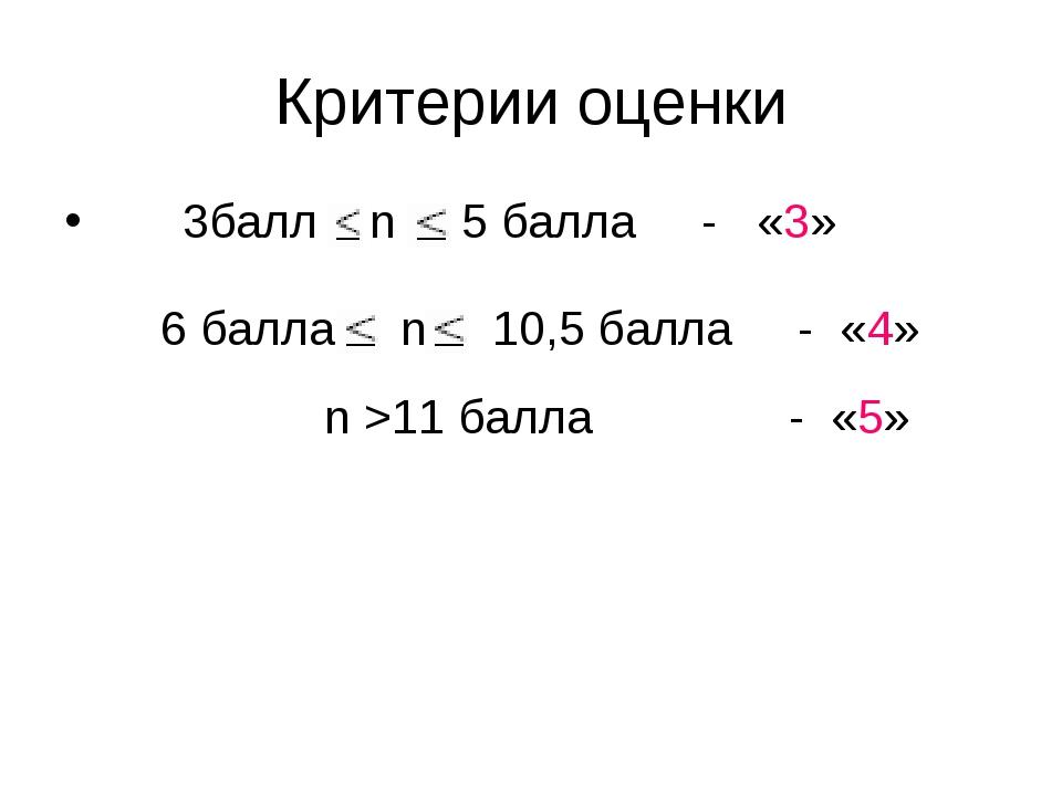 Критерии оценки 3балл n 5 балла - «3» 6 балла n 10,5 балла - «4» n >11 балла...