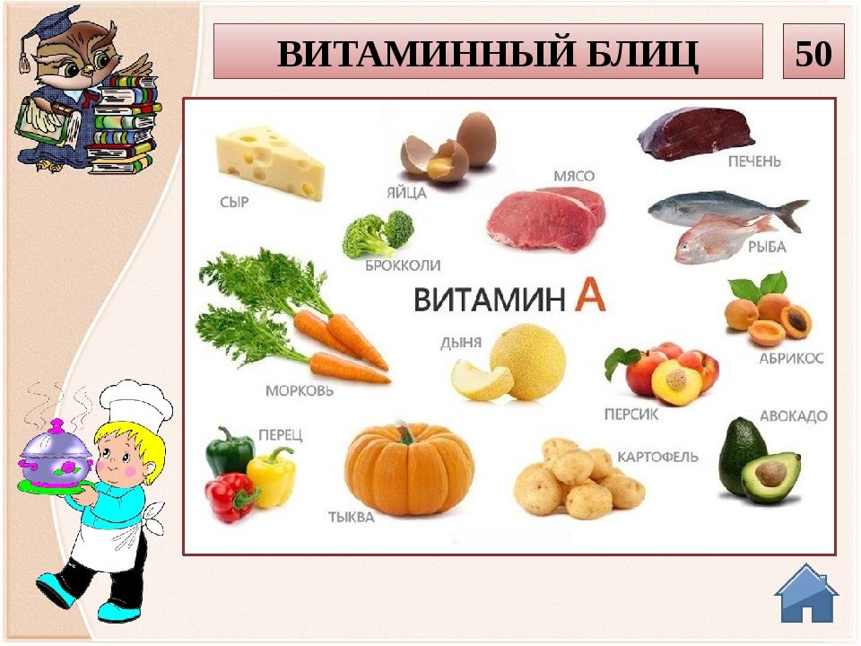В каких продуктах содержится витамин А? 50 ВИТАМИННЫЙ БЛИЦ