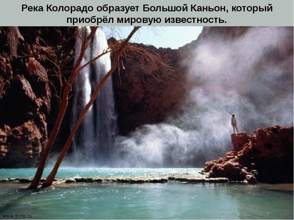 Река Колорадо образует Большой Каньон, который приобрёл мировую известность....