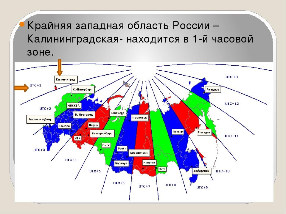 Крайняя западная область России –Калининградская- находится в 1-й часовой зо...