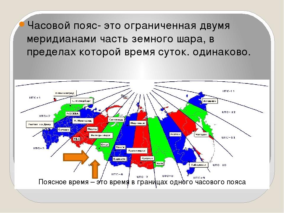 Часовой пояс- это ограниченная двумя меридианами часть земного шара, в преде...