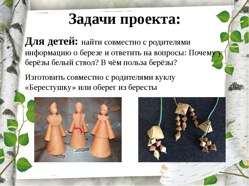 Задачи проекта: Для детей: найти совместно с родителями информацию о березе и...