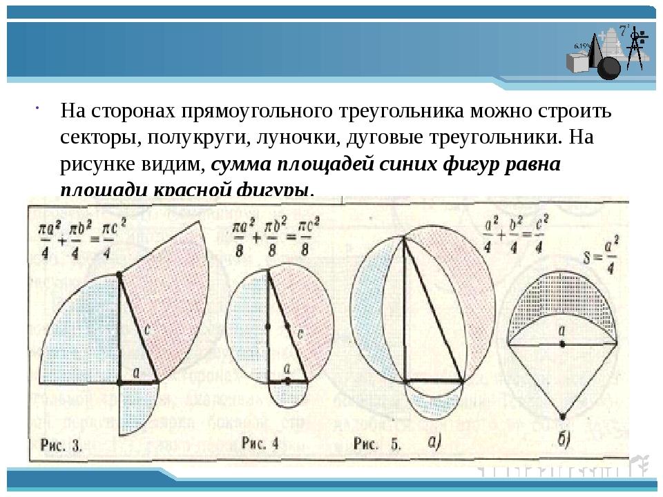 На сторонах прямоугольного треугольника можно строить секторы, полукруги, лу...
