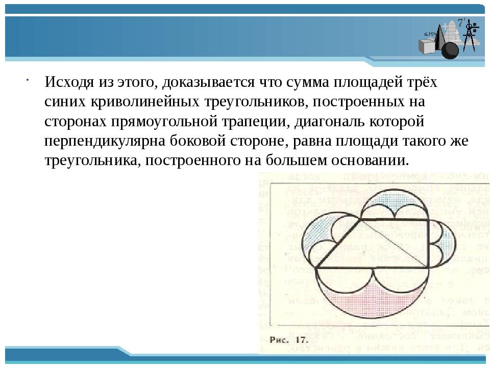 Исходя из этого, доказывается что сумма площадей трёх синих криволинейных тр...
