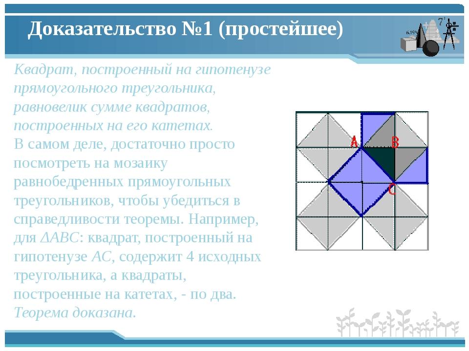 Доказательство №1 (простейшее) Квадрат, построенный на гипотенузе прямоугольн...
