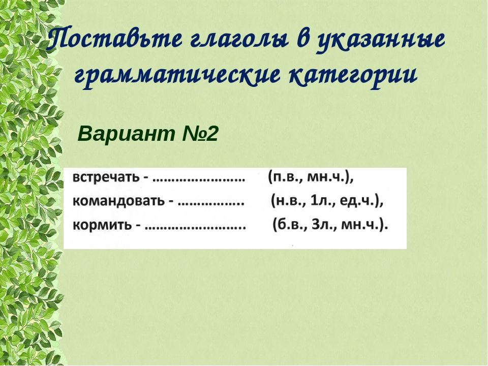 Поставьте глаголы в указанные грамматические категории  Вариант №2