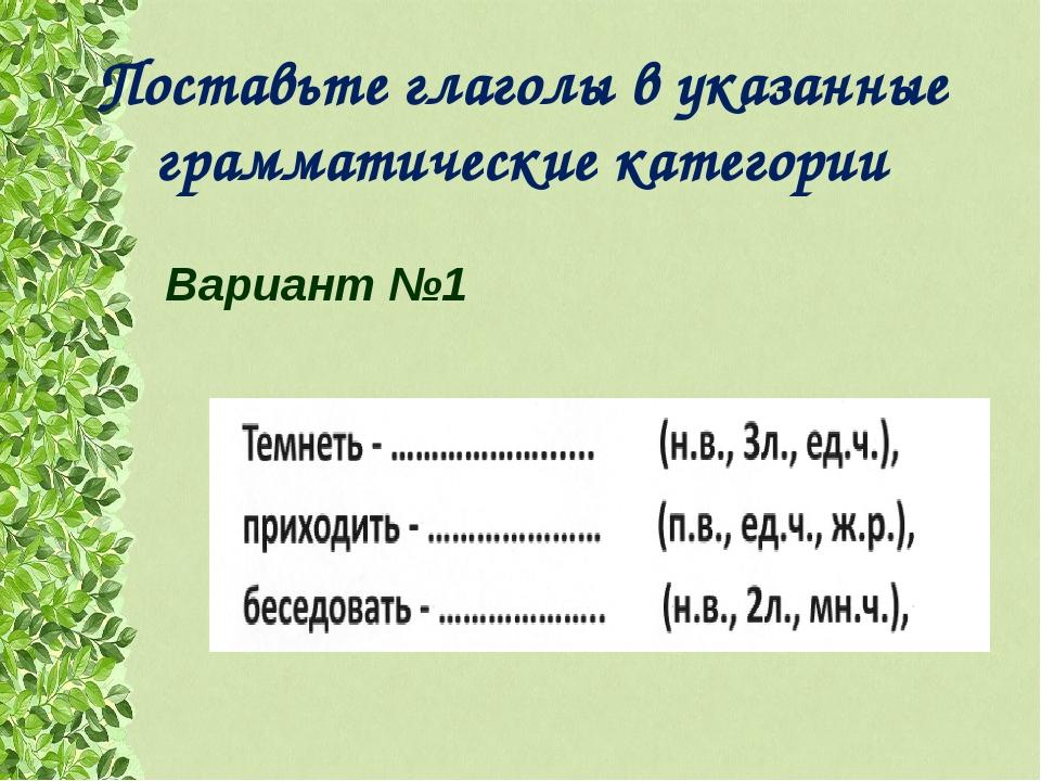 Поставьте глаголы в указанные грамматические категории Вариант №1
