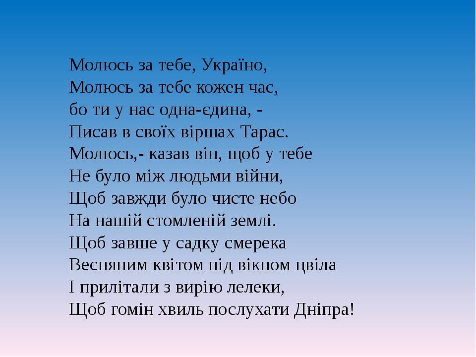 Молюсь за тебе, Україно, Молюсь за тебе кожен час, бо ти у нас одна-єдина, -...