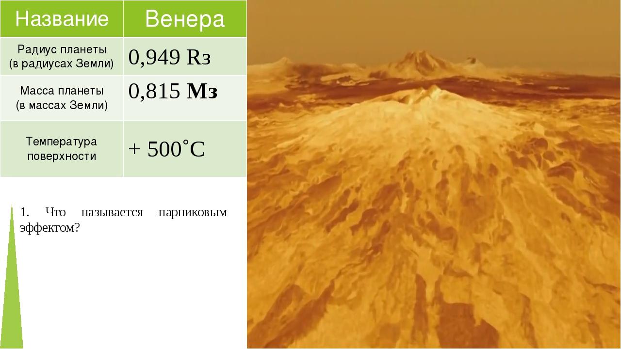 1. Что называется парниковым эффектом? Название Венера Радиус планеты (врадиу...