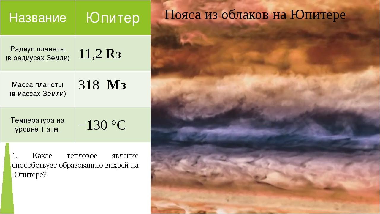 Пояса из облаков на Юпитере 1. Какое тепловое явление способствует образовани...