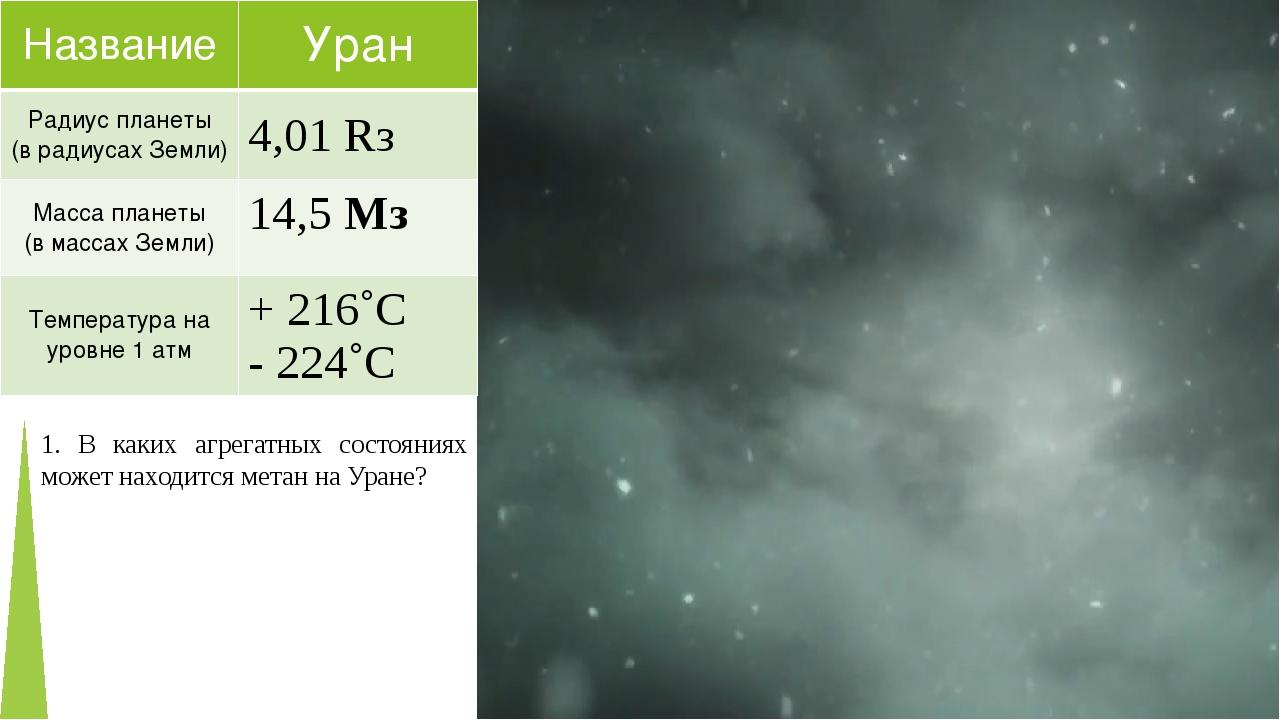 1. В каких агрегатных состояниях может находится метан на Уране? Название Ура...