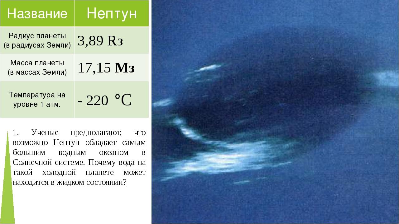 1. Ученые предполагают, что возможно Нептун обладает самым большим водным оке...