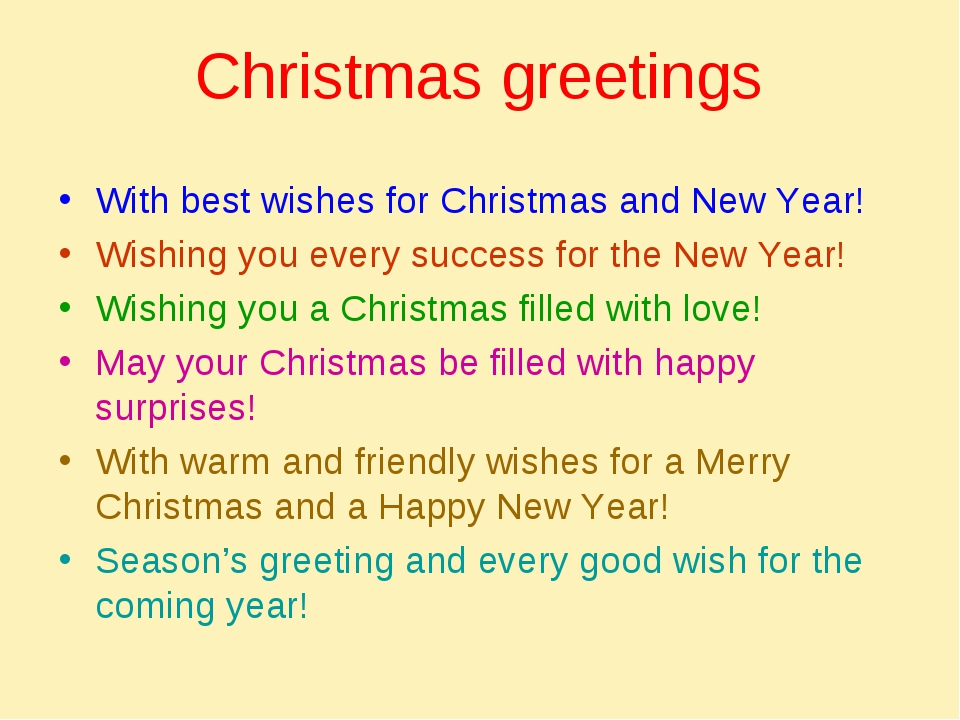 Christmas greetings With best wishes for Christmas and New Year! Wishing you...