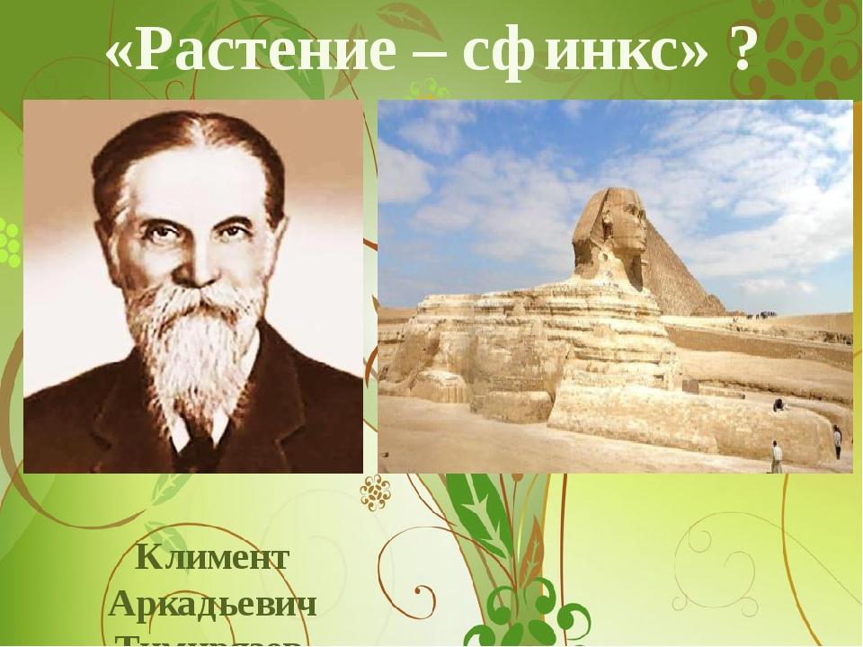 «Растение – сфинкс» ? Климент Аркадьевич Тимирязев (1843-1920)