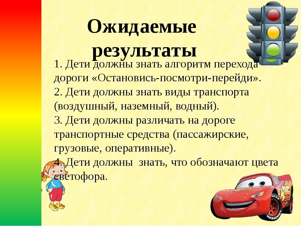 Ожидаемые результаты 1. Дети должны знать алгоритм перехода дороги «Остановис...