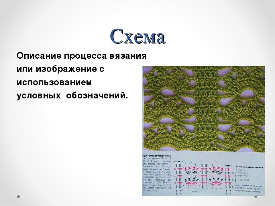 Схема Описание процесса вязания или изображение с использованием условных обо...