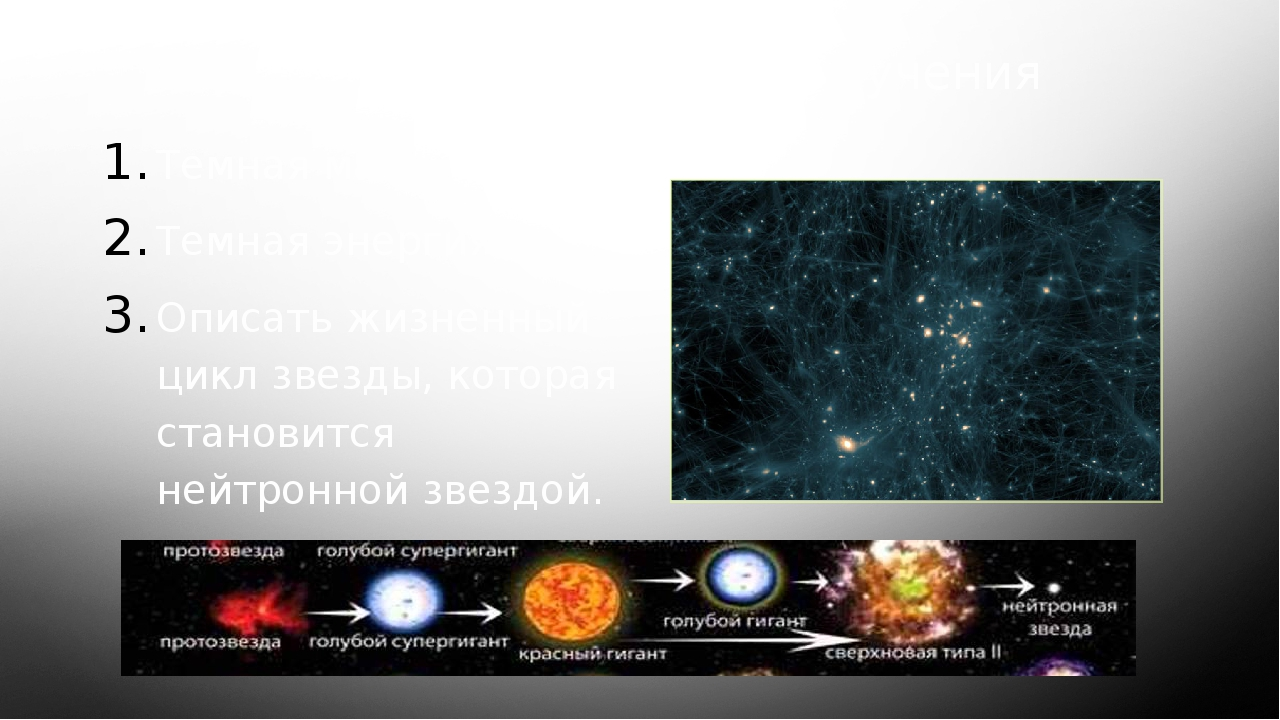 Для самостоятельного изучения Темная материя Темная энергия Описать жизненный...
