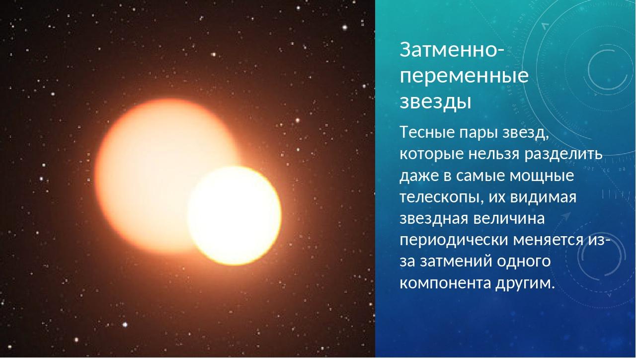 Затменно-переменные звезды Тесные пары звезд, которые нельзя разделить даже в...