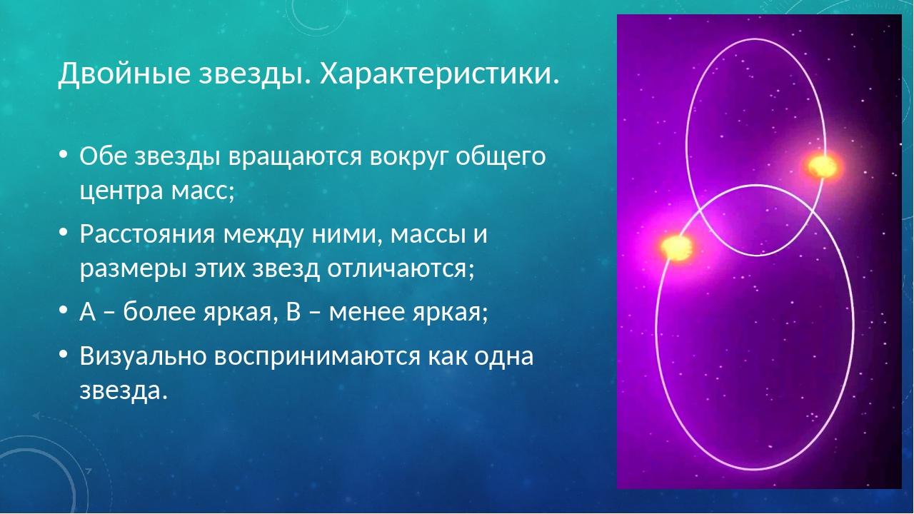 Двойные звезды. Характеристики. Обе звезды вращаются вокруг общего центра мас...