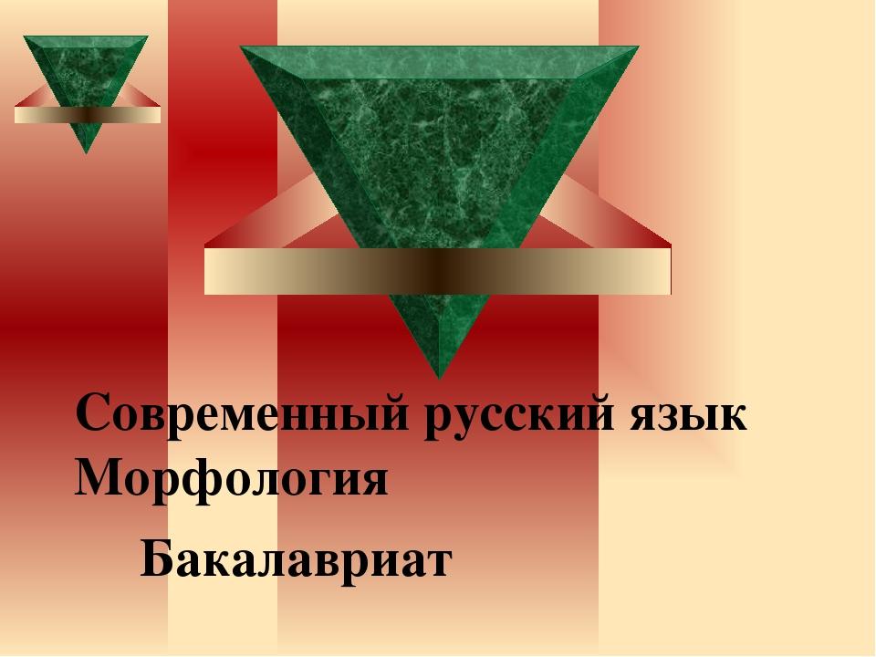 Современный русский язык Морфология Бакалавриат