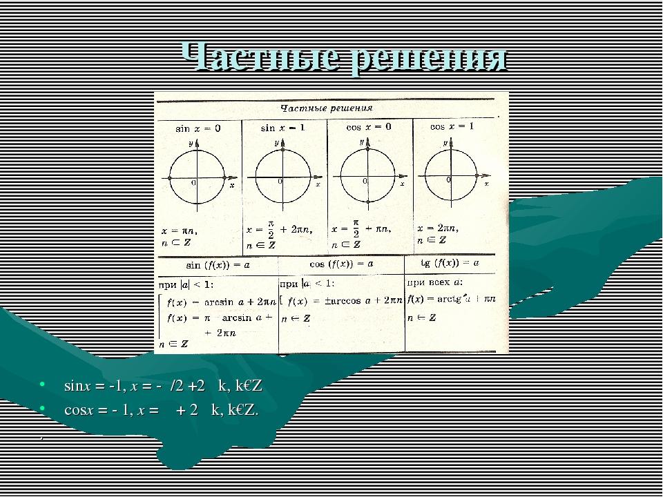 Частные решения sinx = -1, x = -π/2 +2 πk, k€Z cosx = - 1, x = π + 2 πk, k€Z. .