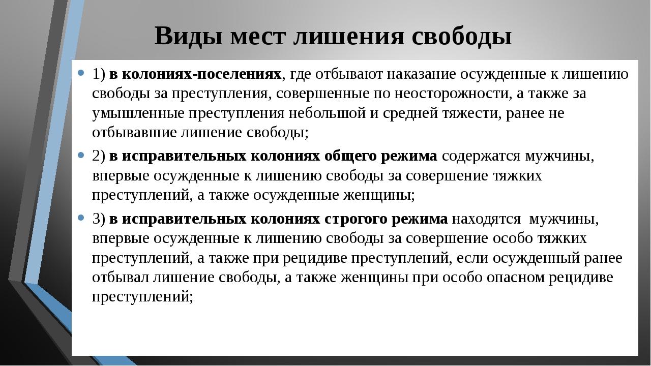 Виды мест лишения свободы 1) в колониях-поселениях, где отбывают наказание ос...