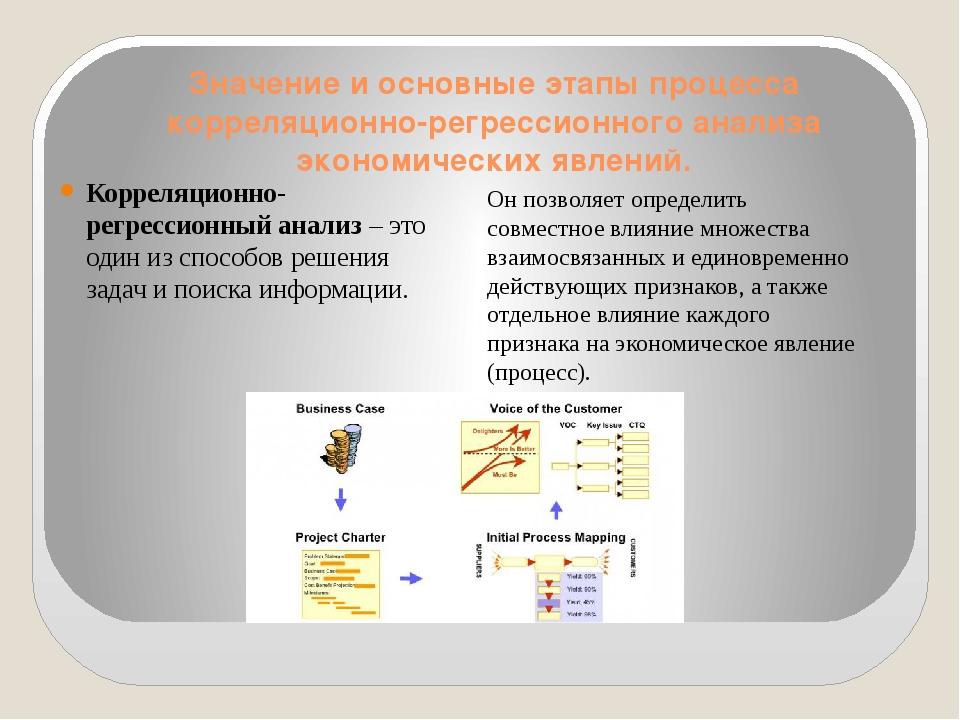 Значение и основные этапы процесса корреляционно-регрессионного анализа эконо...
