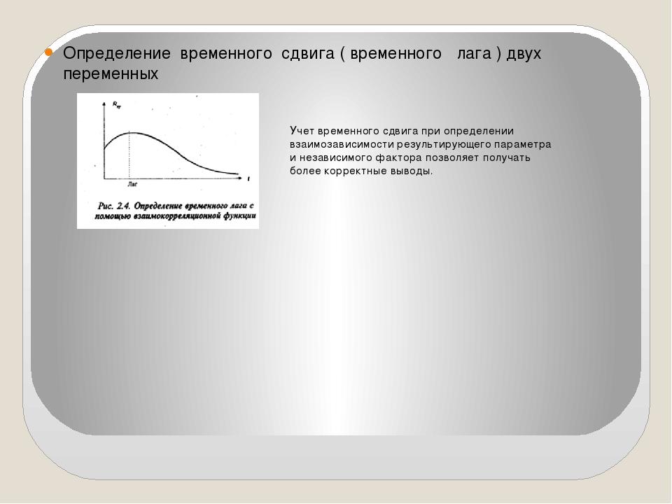 Определение временного сдвига ( временного лага ) двух переменных Учет времен...