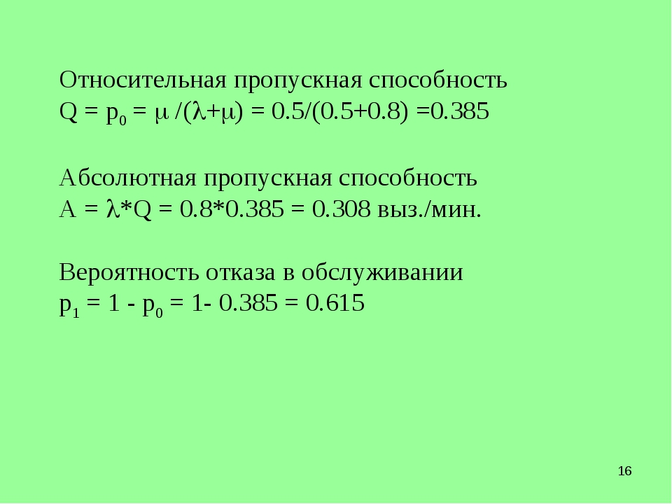 * Относительная пропускная способность Q = p0 =  /(+) = 0.5/(0.5+0.8) =0.3...