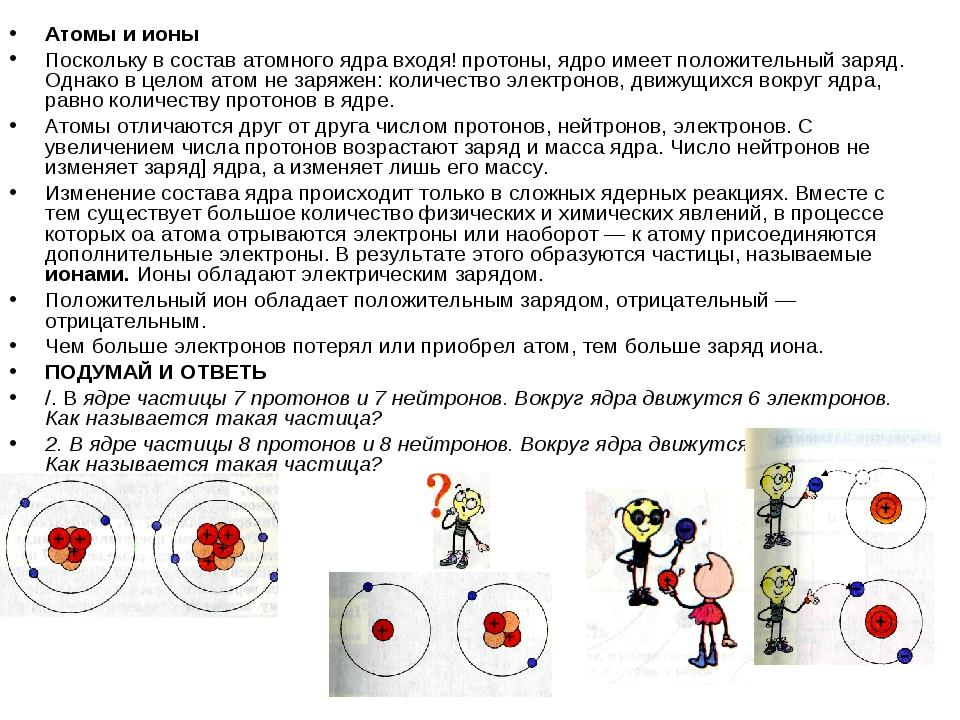 Атомы и ионы Поскольку в состав атомного ядра входя! протоны, ядро имеет поло...