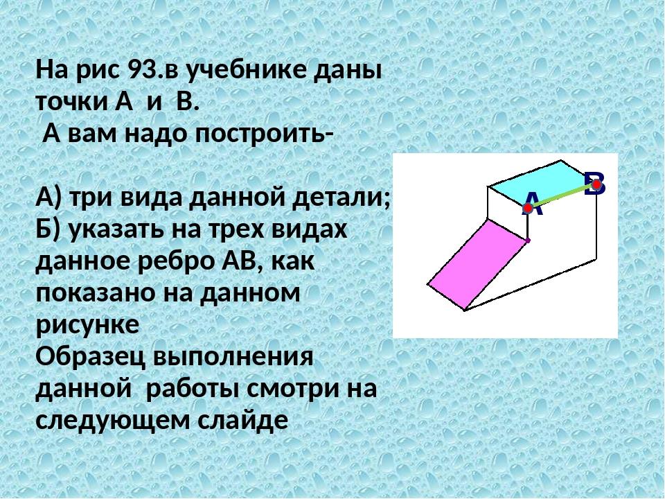 На рис 93.в учебнике даны точки А и В. А вам надо построить- А) три вида данн...