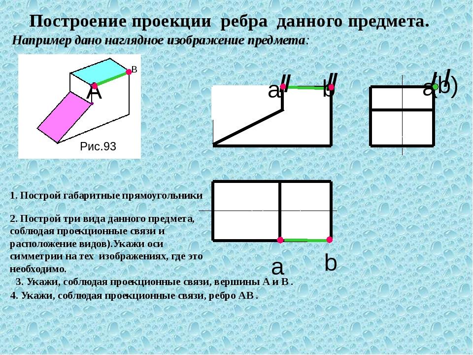 а b Построение проекции ребра данного предмета. Например дано наглядное изоб...