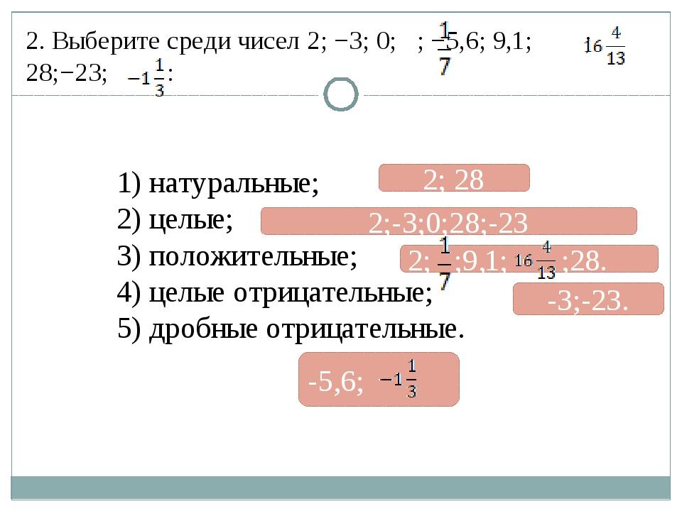 2. Выберите среди чисел 2; −3; 0; ; −5,6; 9,1; ; 28;−23; : 1) натуральные; 2)...