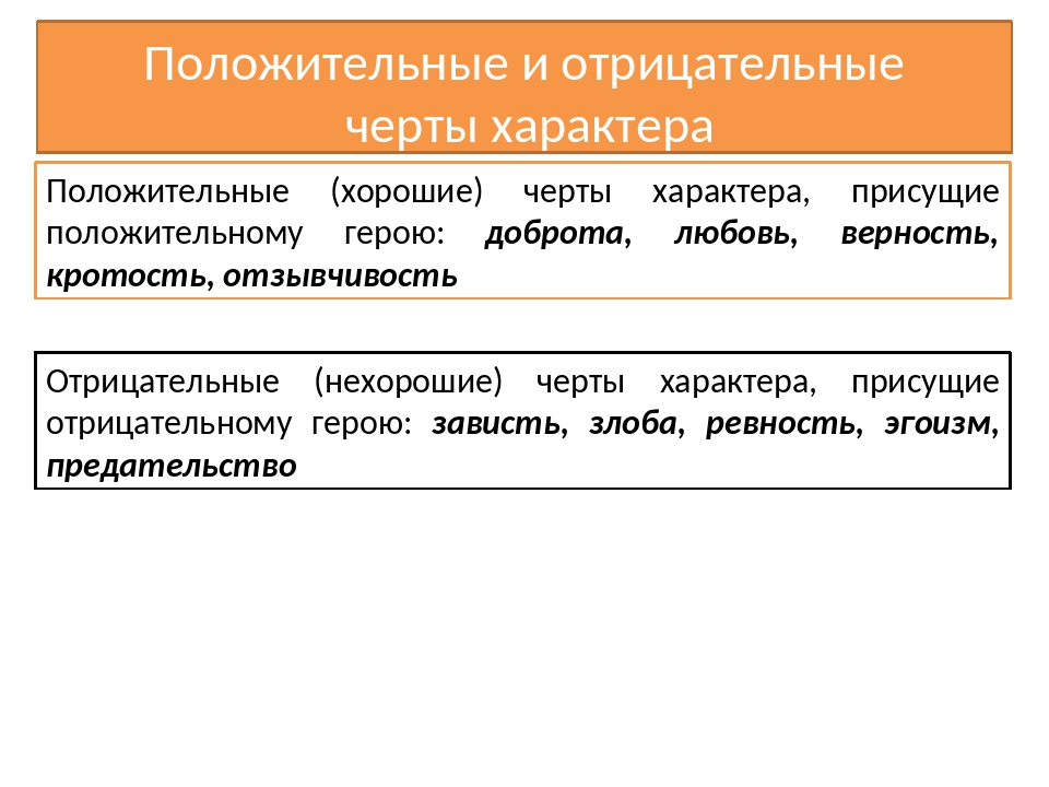 Положительные и отрицательные черты характера Положительные (хорошие) черты х...