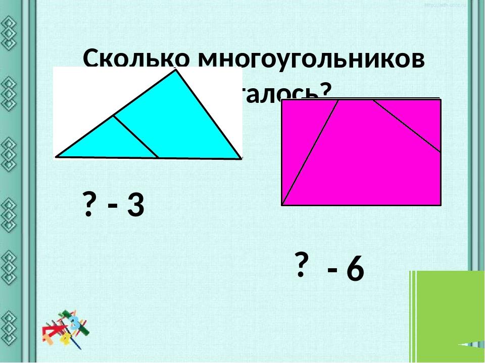 Сколько многоугольников спряталось? ? - 3 ? - 6