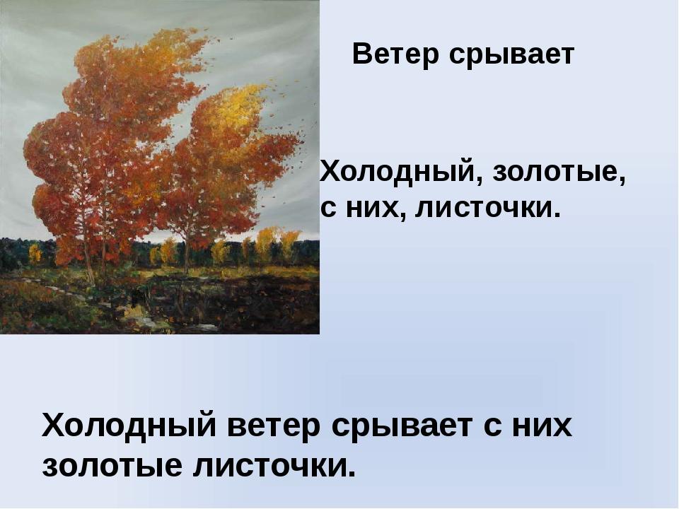Ветер срывает Холодный, золотые, с них, листочки. Холодный ветер срывает с ни...