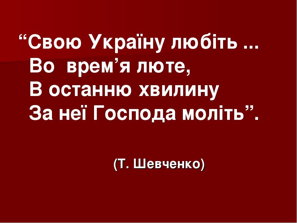 """Свою Україну любіть ... Во врем'я люте, В останню хвилину За неїГоспода мол..."