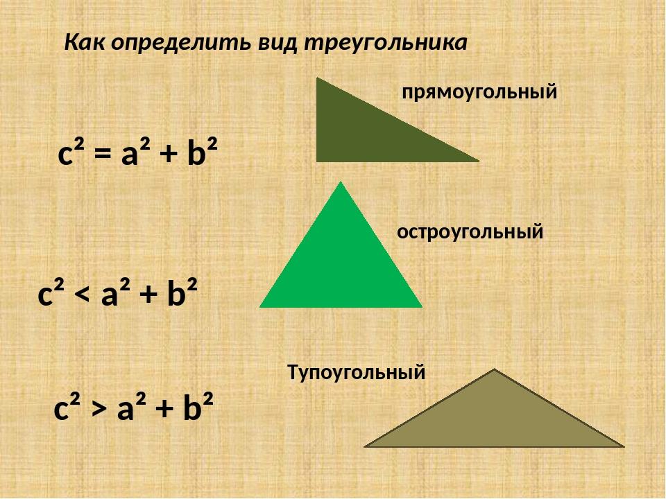 c² = a² + b² прямоугольный c² < a² + b² остроугольный c² > a² + b² Тупоуголь...