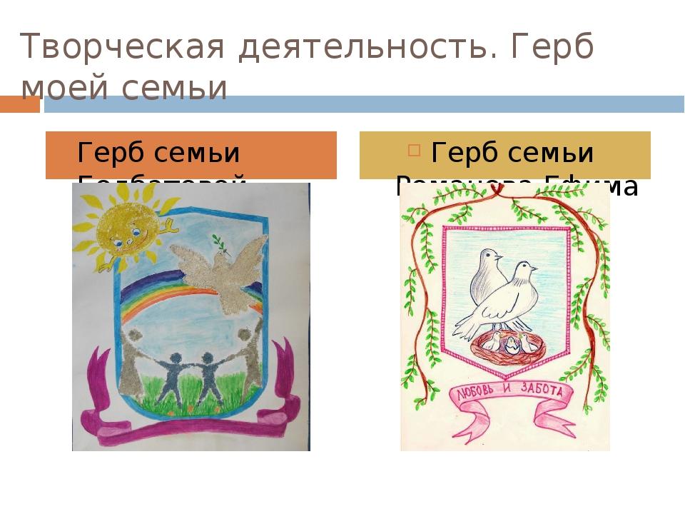 Творческая деятельность. Герб моей семьи Герб семьи Болбатовой Полины Герб се...