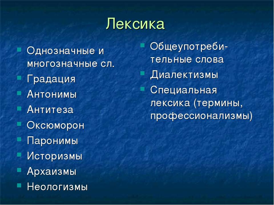 Лексика Однозначные и многозначные сл. Градация Антонимы Антитеза Оксюморон П...