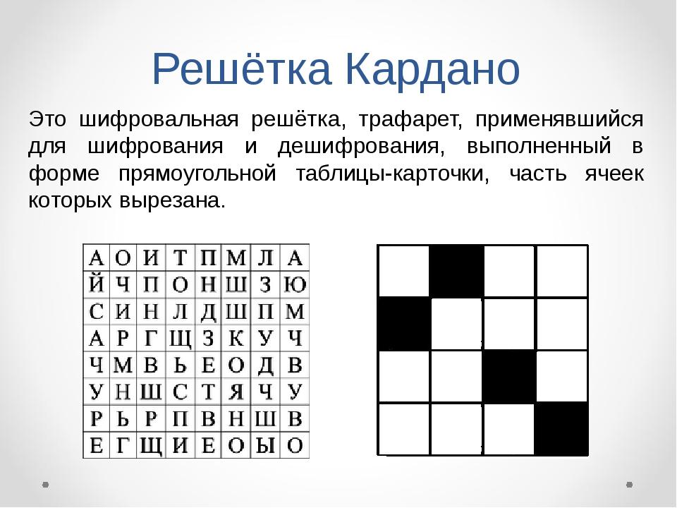 Решётка Кардано Это шифровальная решётка, трафарет, применявшийся для шифрова...