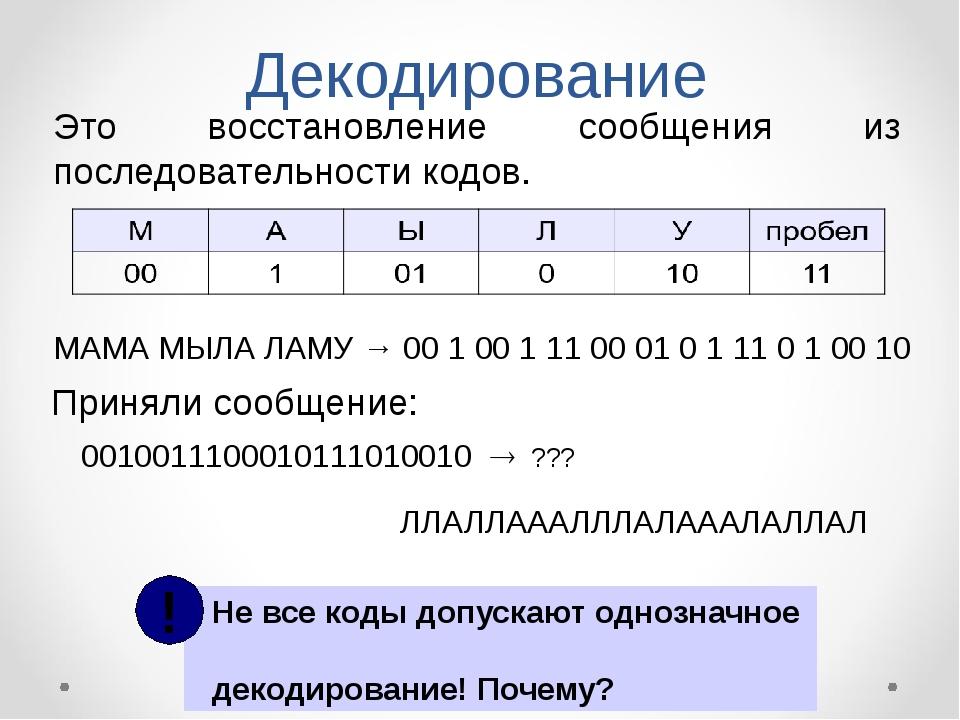 Декодирование Это восстановление сообщения из последовательности кодов. МАМА...