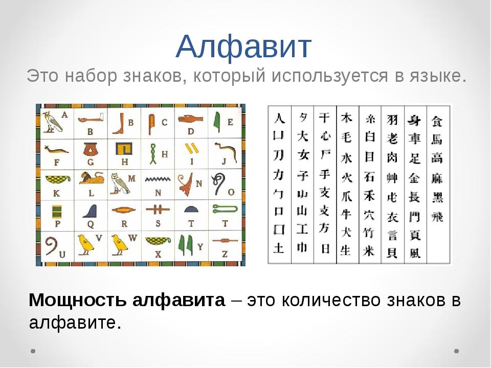 Алфавит Это набор знаков, который используется в языке. Мощность алфавита – э...