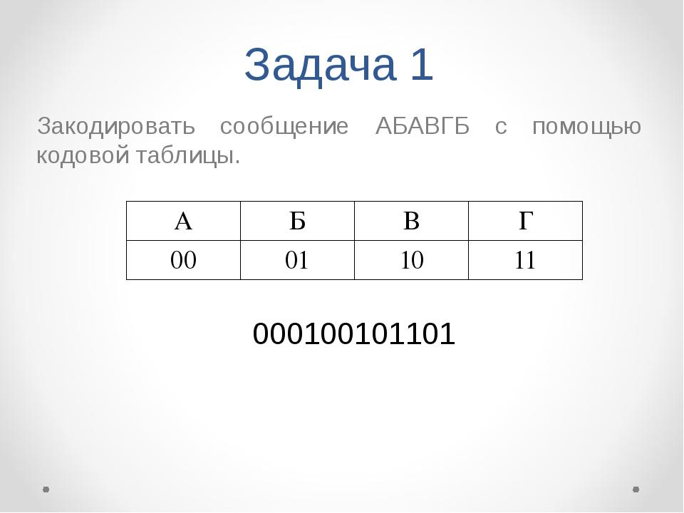 Задача 1 Закодировать сообщение АБАВГБ с помощью кодовой таблицы. 00010010110...