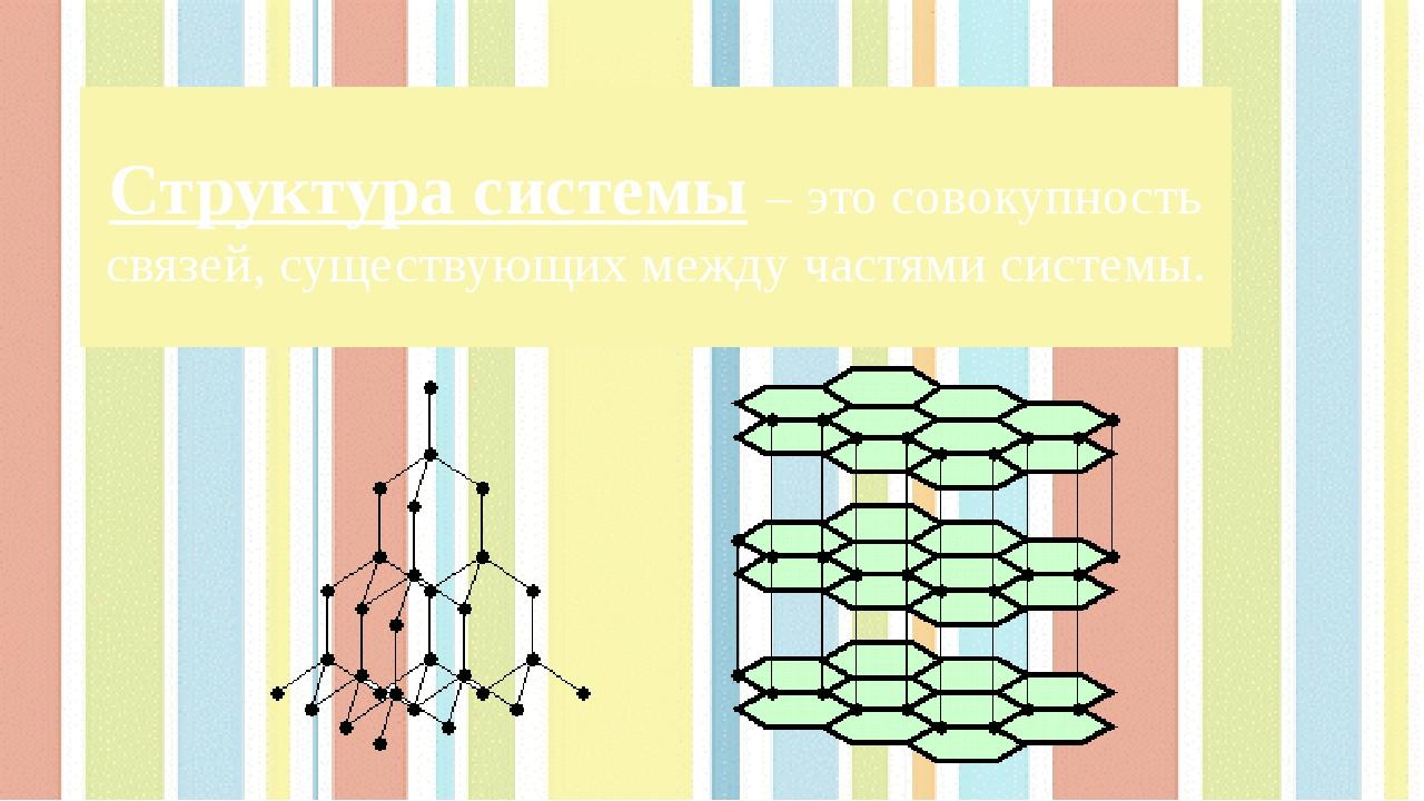 Структура системы – это совокупность связей, существующих между частями систе...