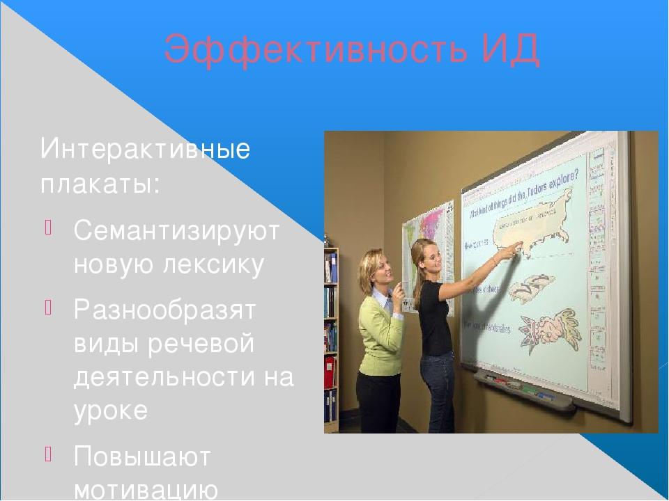 Эффективность ИД Интерактивные плакаты: Семантизируют новую лексику Разнообра...