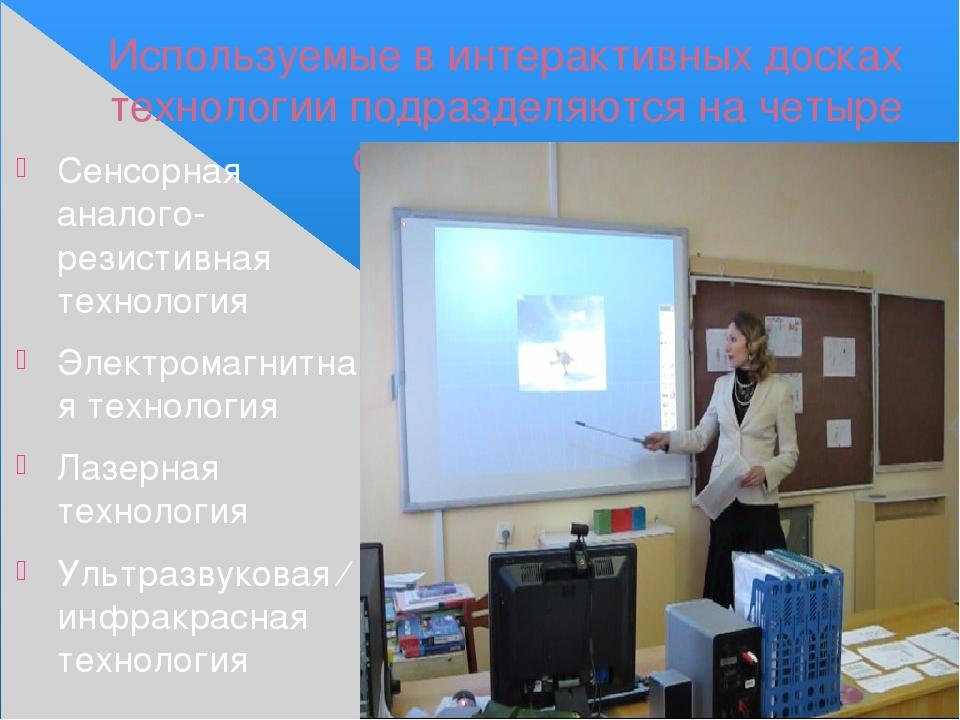 Используемые в интерактивных досках технологии подразделяются на четыре основ...