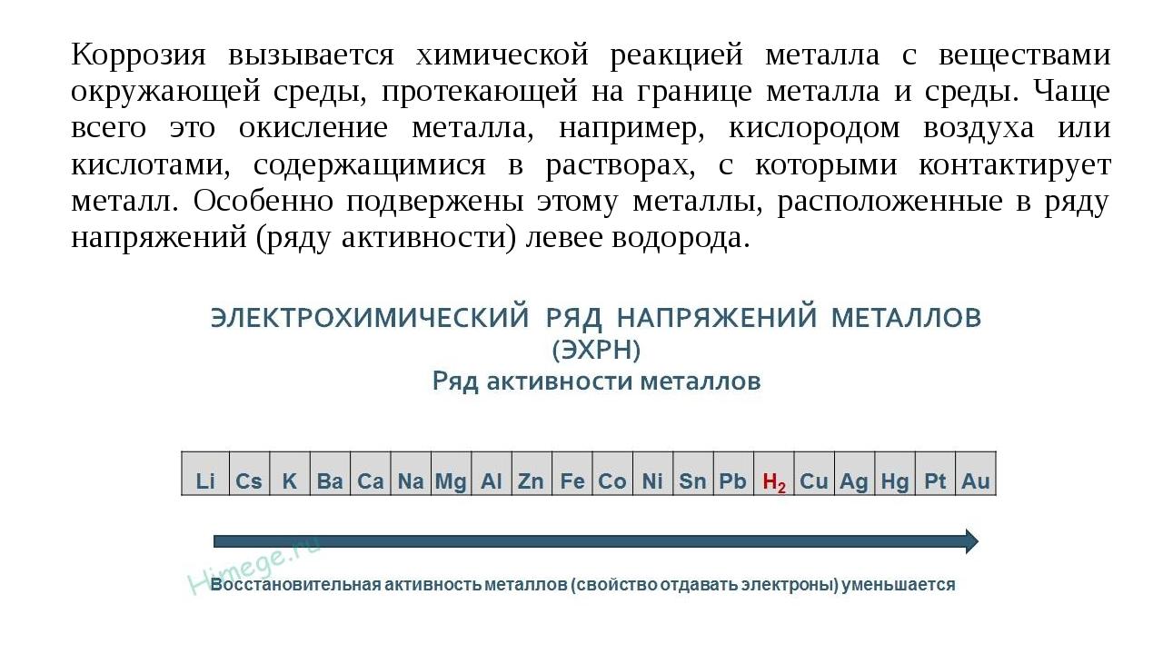 Коррозия вызывается химической реакцией металла с веществами окружающей среды...